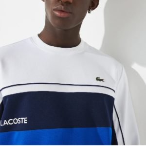 LACOSTE Sweat sport color block blanc/royal