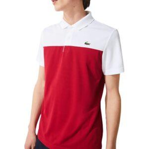 LACOSTE Polo Sport rouge bicolore