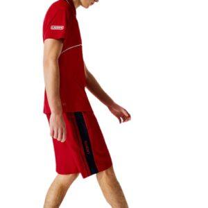 LACOSTE Short rouge à bandes contrastées
