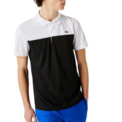 Polo Lacoste sport color block sport et mode bicolore noir Lacoste short polo t-shirt sweatshirt magasin sport aventure à Orange