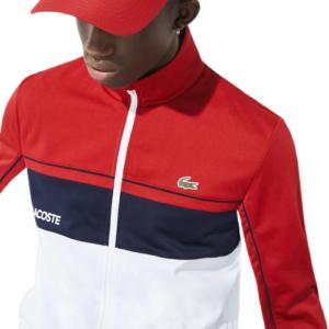 LACOSTE Veste zippée rouge Color-block
