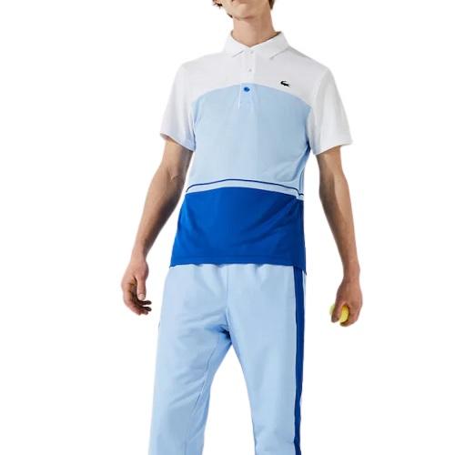 polo Lacoste sport color-block bleu ciel blanc polyester respirant ultra dry marquage lacoste dos boutique sport aventure à Orange sport et mode