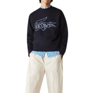 LACOSTE Sweatshirt brodé marine à col rond