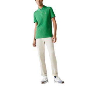 LACOSTE Polo slim vert Piqué de Coton Uni