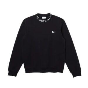 LACOSTE Sweatshirt siglé noir col rond