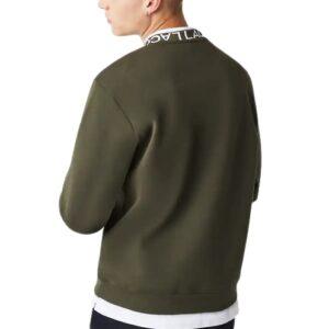 LACOSTE Sweatshirt siglé kaki col rond